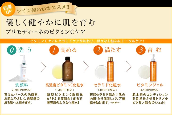 守る潤す与える洗う外部からの刺激からもお肌を守る!セラミド配合のぷるぷるジェル。しっとりとしたキメのあるお肌に整えながら、ハリのある弾力肌に。最新型ビタミンC誘導体APPSを高配合!まるで美容液のような化粧水!泡立ちの良い優しい洗い上がりの石鹸ベースの洗顔料です。43214STEP簡単!プリモディーネスキンケアは全てにビタミンC誘導体配合♪ライン使いでもちもち美肌に☆Primo Ordineライン使いがオススメ!!保湿ローションVCローションジェルクリーム洗顔料   ラインで使えば効果倍増!! ビタミンCの「プリモディーネ」¥4,000円(税別)¥2,800円(税別)¥5,000円(税別)¥2,000円(税別)